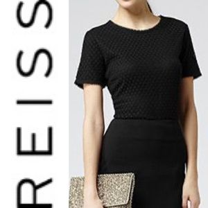 REISS Serena spot lace shortsleeved blouse